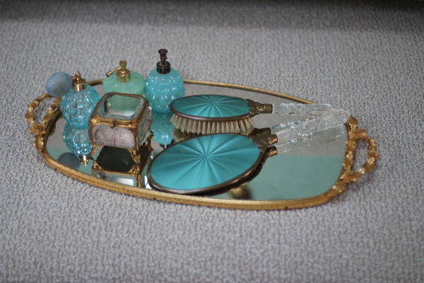 Antique Water Lily Mirror Tray