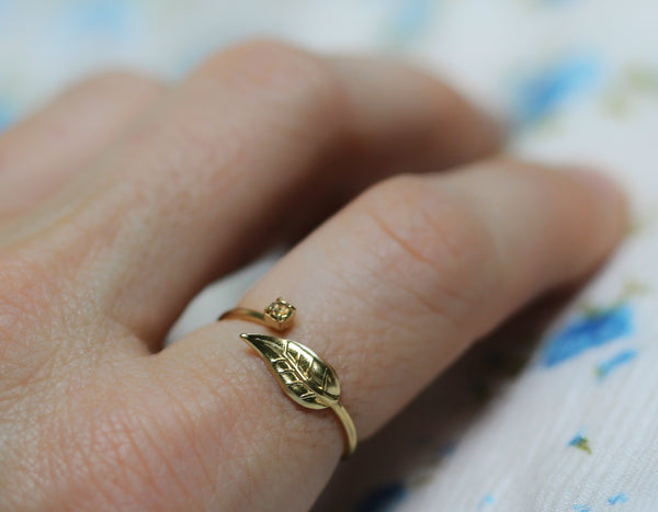 Roxanne Crystal Leaf Ring