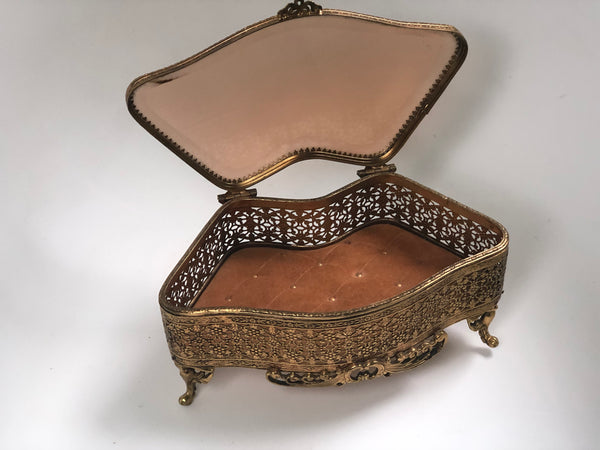 Beveled Glass Bronze Victorian Jewelry Box