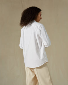 Conscious Collective shirt 100% upcycled hotel linen Archivist Studio white model back