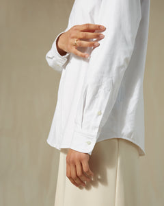 Conscious Collective shirt 100% upcycled hotel linen Archivist Studio white model sleeve
