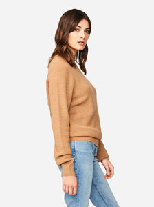 Woolmark certified merino sweater Teym conscious collective crewneck Camel