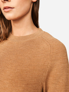 Woolmark certified merino sweater Teym conscious collective crewneck Camel model
