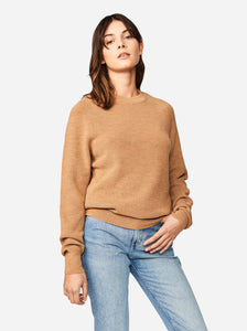 Woolmark certified merino sweater Teym conscious collective Camel crewneck sweater