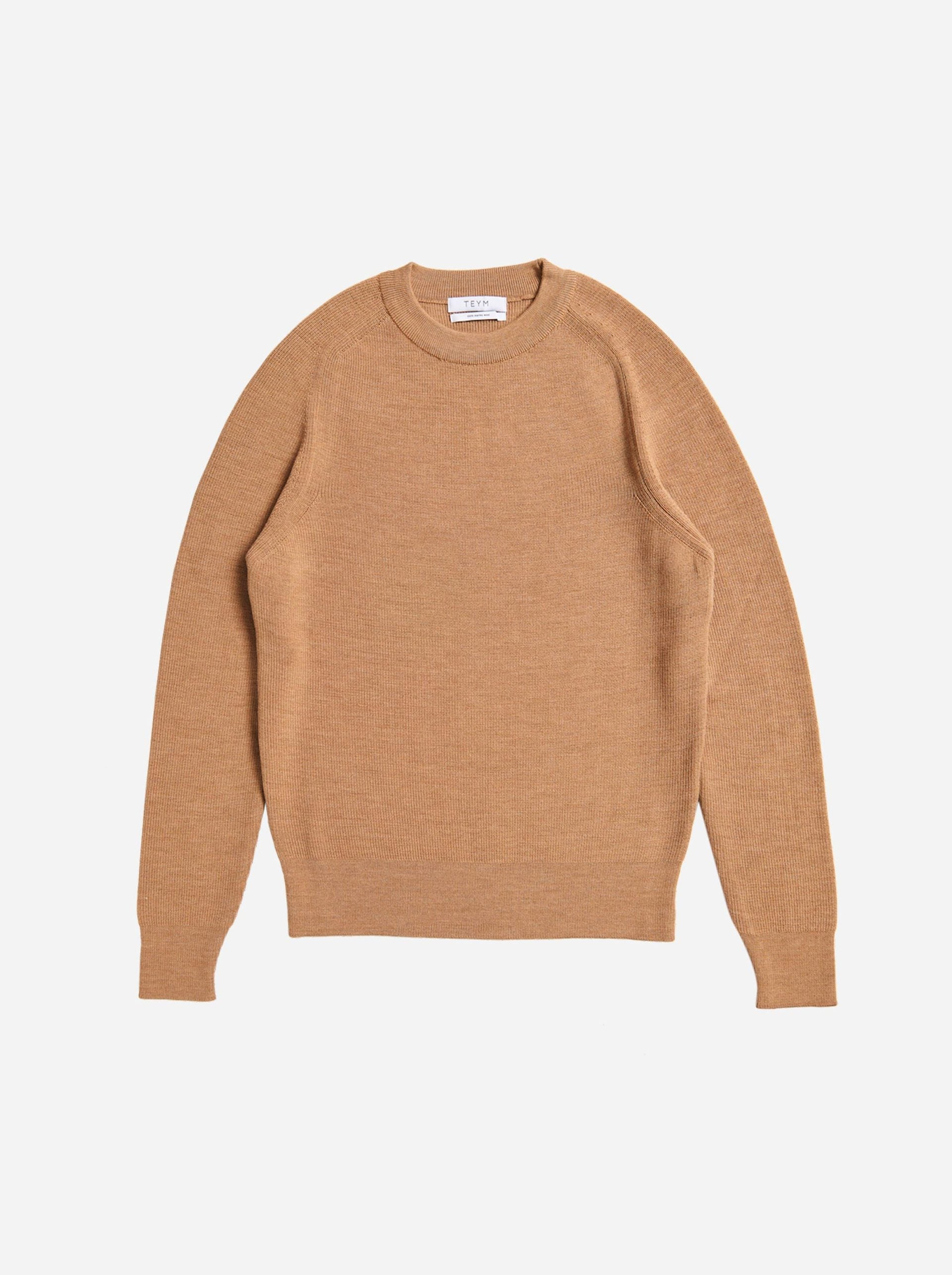 Woolmark certified merino sweater Teym conscious collective Camel product