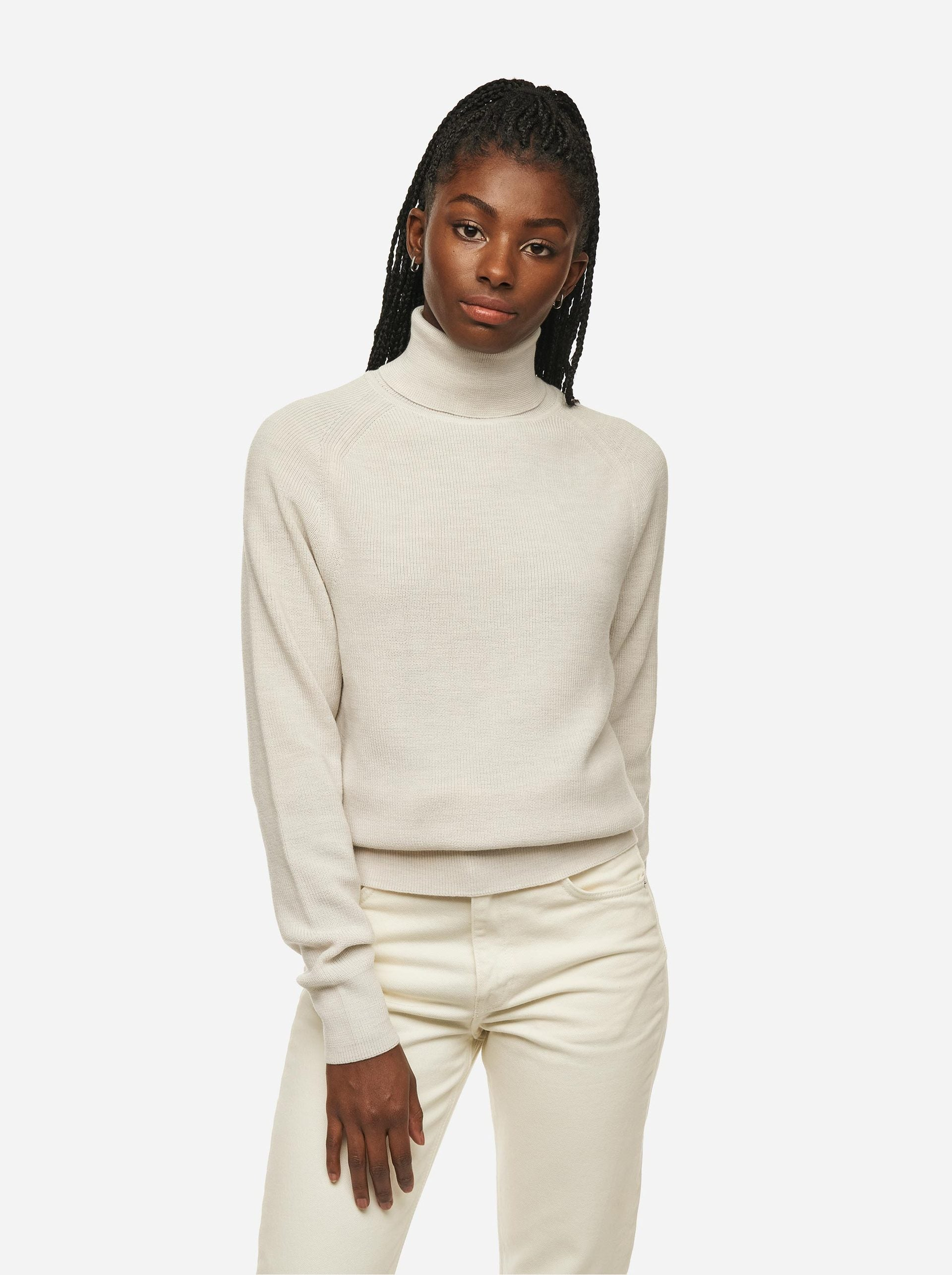Merino sweater Turtleneck Conscious Collective White Teym