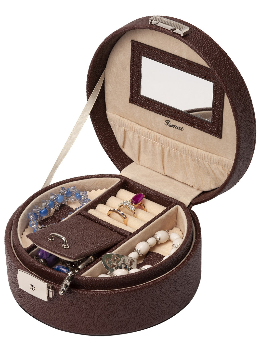 Brown leather effect LUA jewelry box