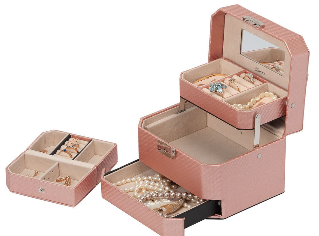 STRIPED Pink jewelry box + travel case