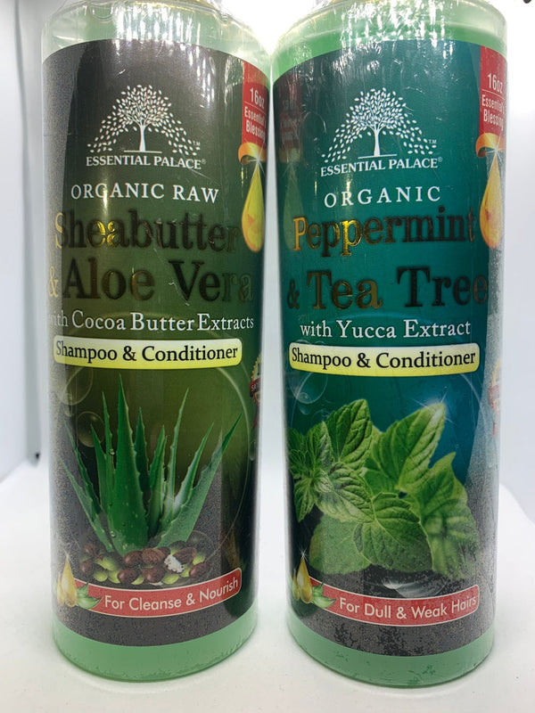 100% Organic Raw Shampoo & Conditioner (Peppermint & Tea Tree, Shea Butter & Aloe Vera)