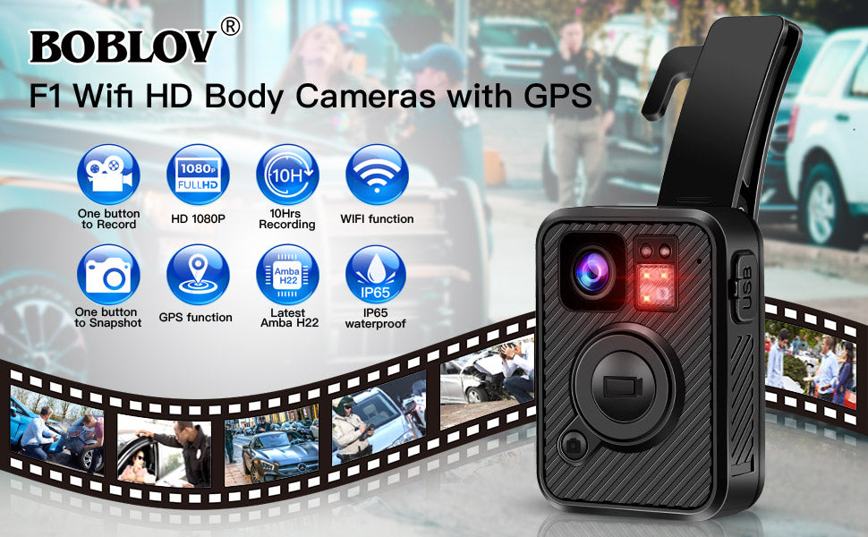 BOBLOV F1 2K 1440P Body Mounted Camera Wifi Cam GPS.10