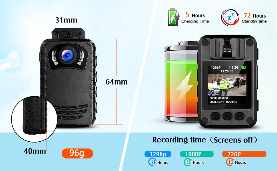 BOBLOV N9 HD1296P Body camera Support 8 hours recording.11