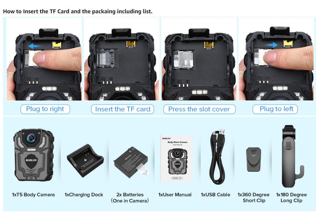 BOBLOV T5 1296P Wearable camera how to install micro SD card