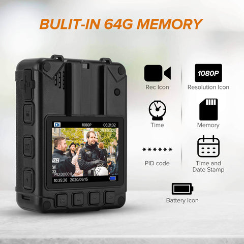 BOBLOV DMT204 Body Camera Built-in 64GB card