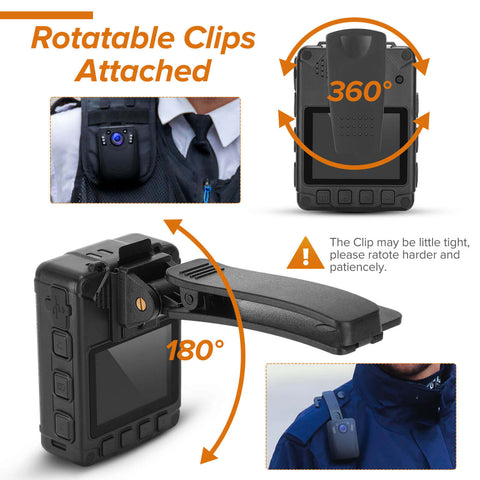 BOBLOV DMT204 Body Camera with Rotatable clips