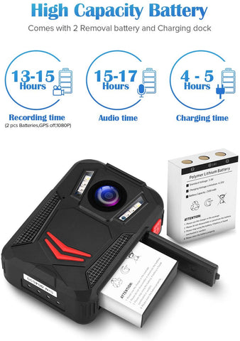 BOBLOV G2A 1440P Body Camera GPS support 12 hours recording