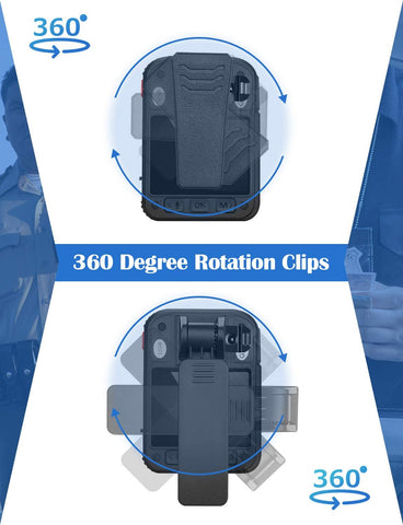 BOBLOV G2A 1440P Body Camera GPS with 360 degree rotation clips