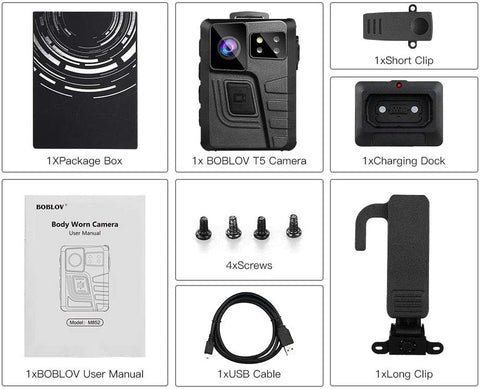 BOBLOV M852 HD 1296P Wearable Camera standard package