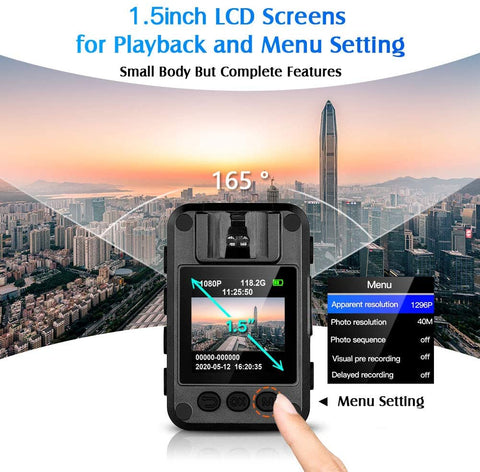 BOBLOV N9 HD1296P Body Worn Camera with 1.5 inch LCD screen.4