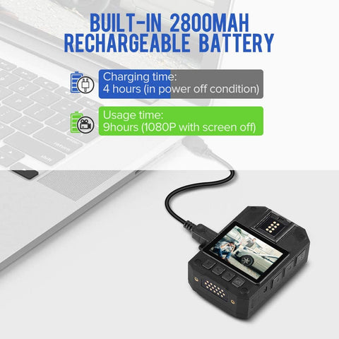 BOBLOV P100 1296P Wearable Camera 2800MAH battery