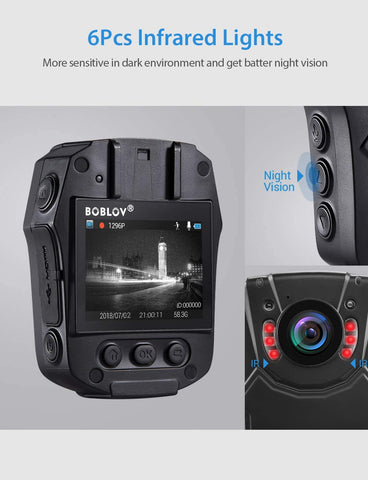Image of BOBLOV PD50 HD 1296P Body Worn Camera Infared light.8