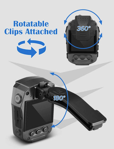 Image of BOBLOV PD70 HD 1296P Camera Wifi Bodycam Rotatable clips