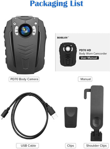 Image of BOBLOV PD70 HD 1296P Camera Wifi Body worn camera