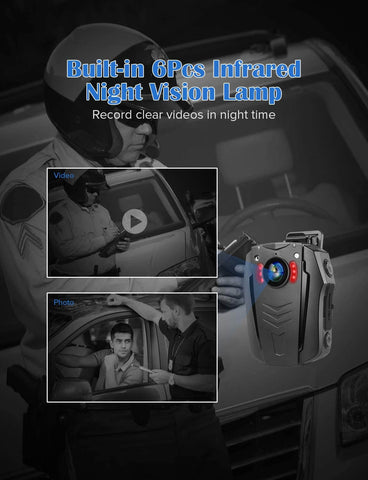 Image of BOBLOV PD70 HD 1296P Camera Wifi Body worn camera night vision lamp