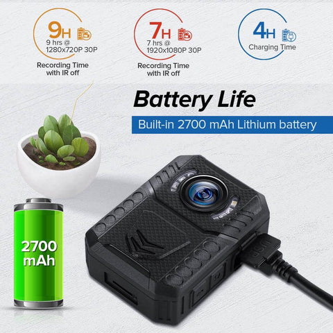 BOBLOV X3A 1080P HD Body Camera 9 HOURS RECORDING