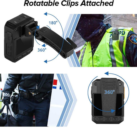 BOBLOV X3A 1080P HD Body Worn Camera rotatable clips attached