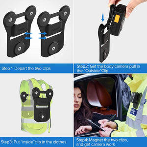 BOBLOV Universal Magnetic Suction Back Clip & KJ21 Body Camera 1296P Body Camera