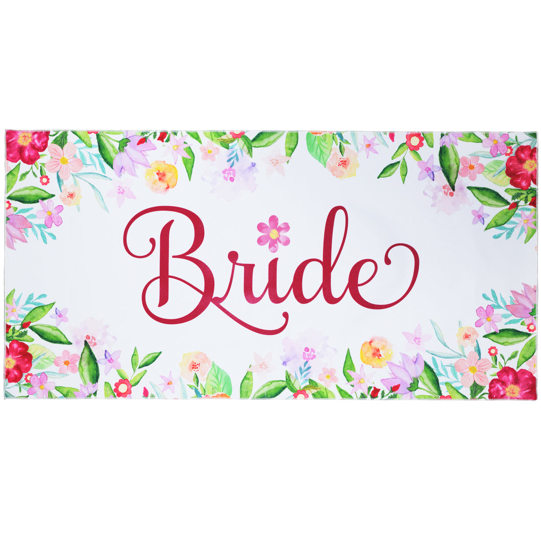 Large Bride Microfiber Beach Towel - Travel Friendly for Bachelorette Party, Bridal Shower, Honeymoon, and Wedding Decoration - 60