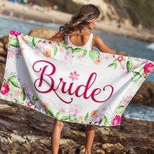 "Load image into Gallery viewer, Large Bride Microfiber Beach Towel - Travel Friendly for Bachelorette Party, Bridal Shower, Honeymoon, and Wedding Decoration - 60""x30"""
