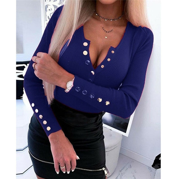 V Neck Long Sleeve Ribbed Knitted Top