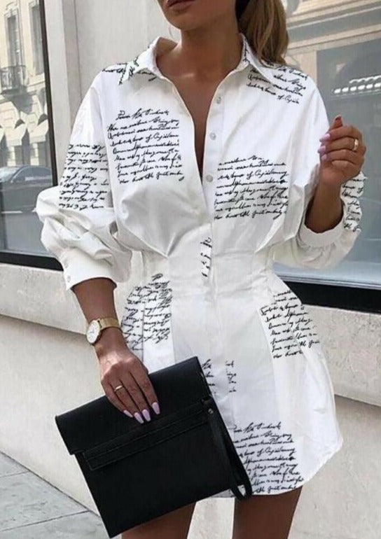 Long Sleeve Mini Shirt Dress-Blouses