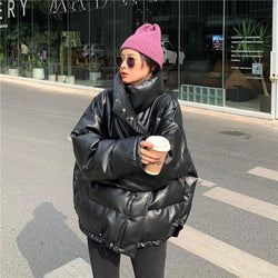 Hoodless Pleather Puffer