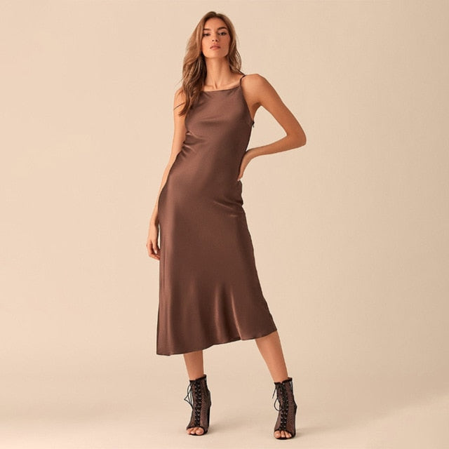 Summer women Satin Slip Sexy Backless  Strap Dress