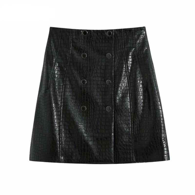 Black Croc-effect Faux Leather Mini Skirt