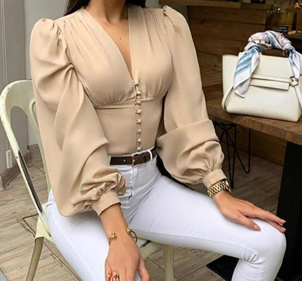 Elegant Blouse Lantern Long Sleeve