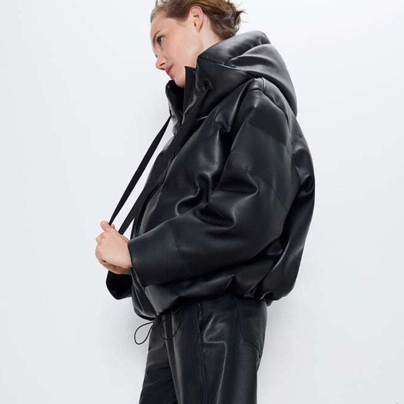 Pleather Puffed Parka With Funnel Collar