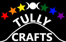 Tully Crafts logo. At the top the triple moon symbol, with red orange and yellow five pointed stars to the left, and green blue and purple stars to the right. At the bottom Tully written above mound line and crafts below it.