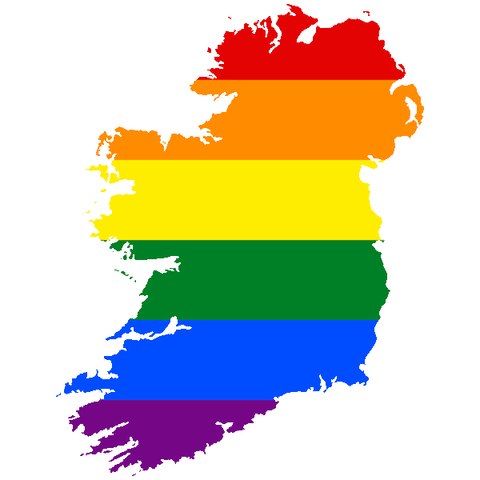 The island of Ireland shape filled in with 6 colour rainbow flag