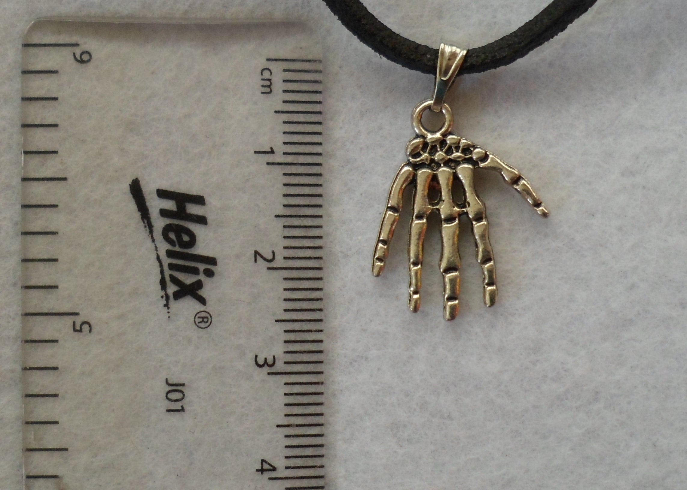 Skeletal Hands Leather Thong Necklace and Earring Set - Tully Crafts