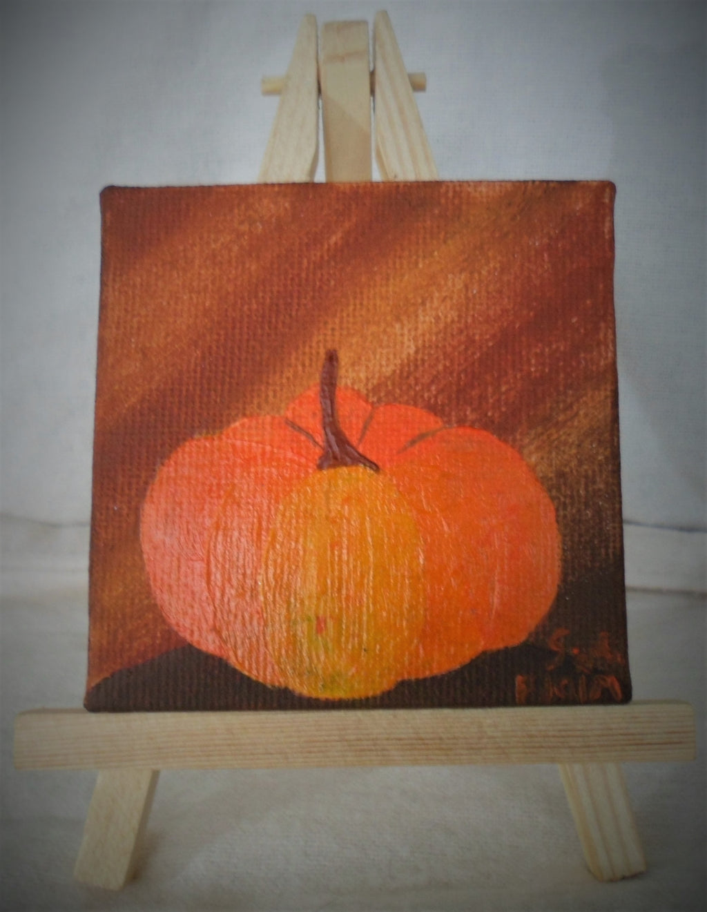Pumpkin Mini Easel Art by S.A.Flaim - Tully Crafts