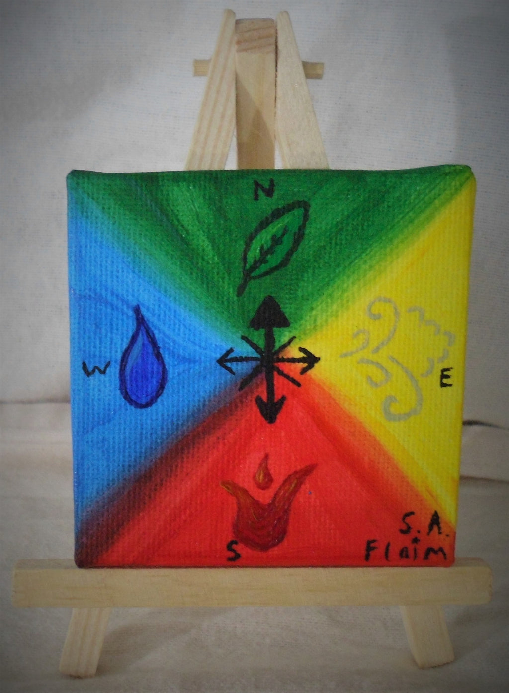 Elemental Compass Mini Easel Art by S.A.Flaim - Tully Crafts
