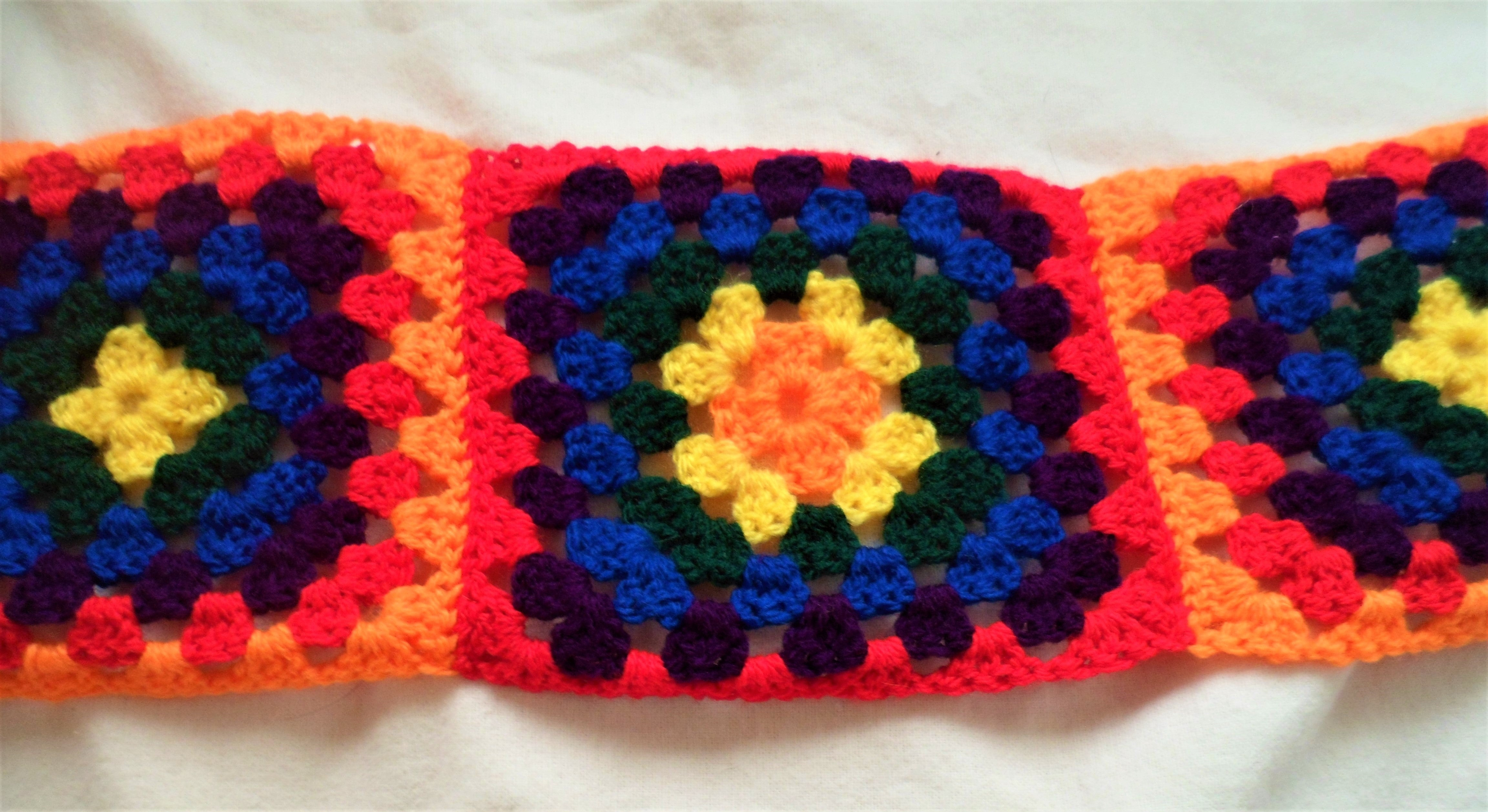Rainbow Crochet Granny Square Scarf - Tully Crafts