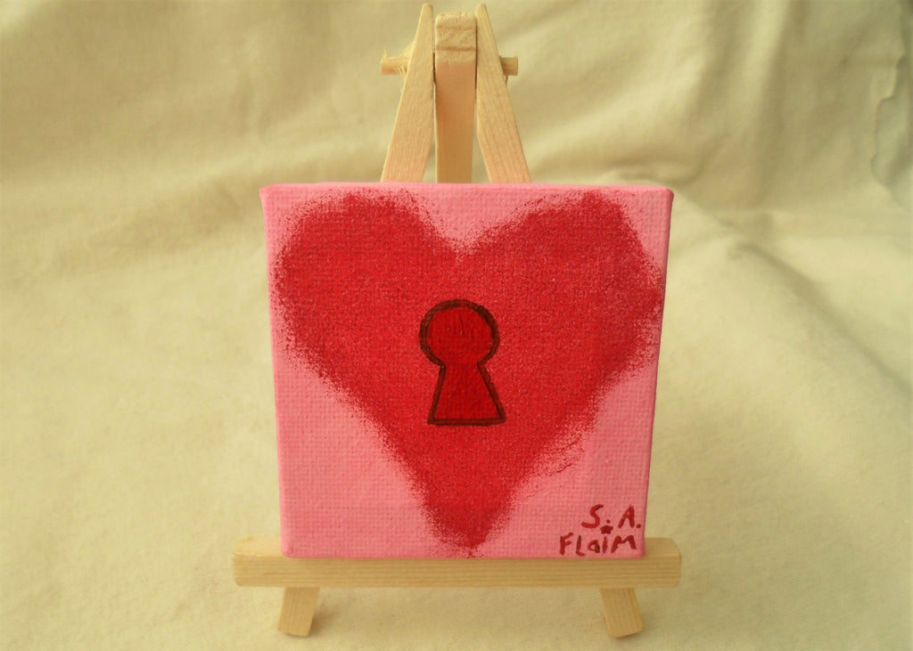 Locked Heart Mini Easel Art by S.A.Flaim - Tully Crafts