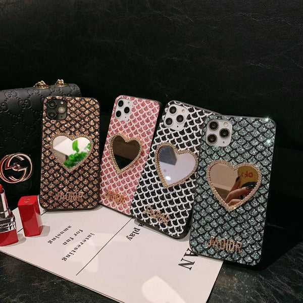 Luxury Diamond Heart-shaped Makeup Mirror Phone Case