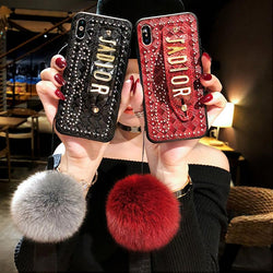 Ins Fashion Phone Case With Plush Ball