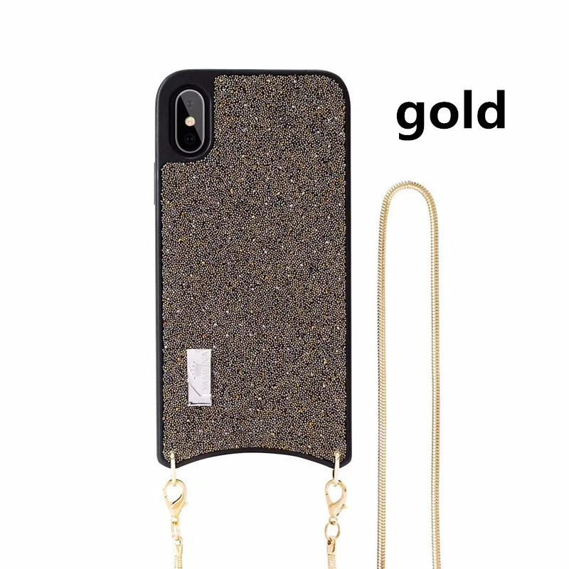 One Shoulder Necklace Luxury Rhinestone Phone Case