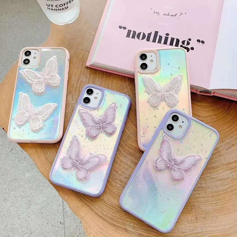 Glitter Embroidery Butterfly Phone Case